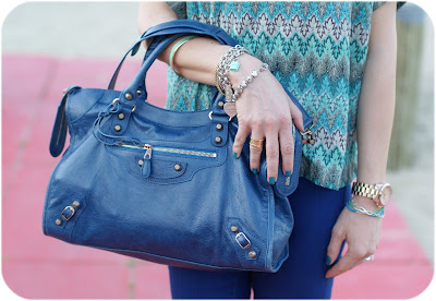 Balenciaga bag, blue outfit