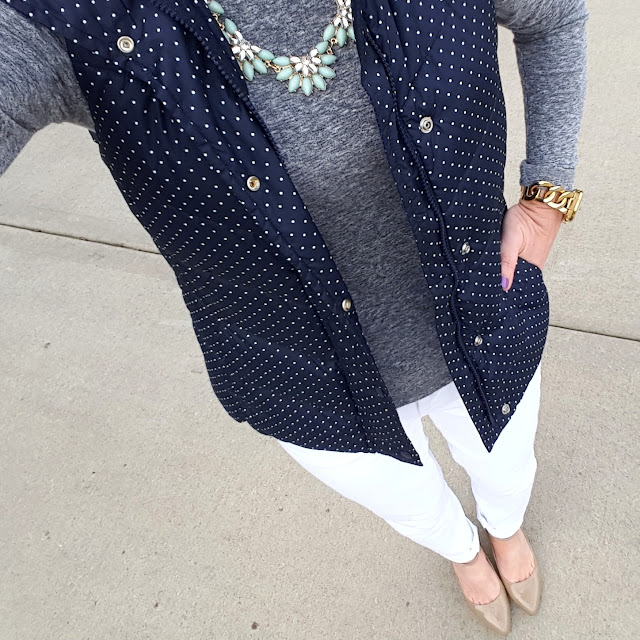 Gap Factory Polka Dot Puffer Vest (I could not find a similar polka dot vest, but this plain navy one is super cute!) // Mossimo Crew Neck T-Shirt // Gap Factory White Jeans (similar) // Michael Kors Runway Watch // Nine West Ankle Strap Heels (similar - 54% off!)