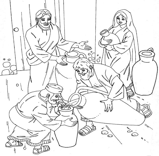 JESÚS EN LAS BODAS DE CANA PARA COLOREAR