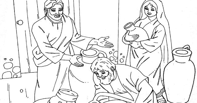 Com JESÚS EN LAS BODAS DE CANA PARA COLOREAR