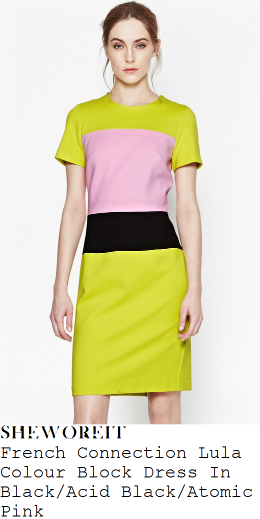 natasha-hamilton-green-pink-black-colour-block-pencil-dress-ok-magazine