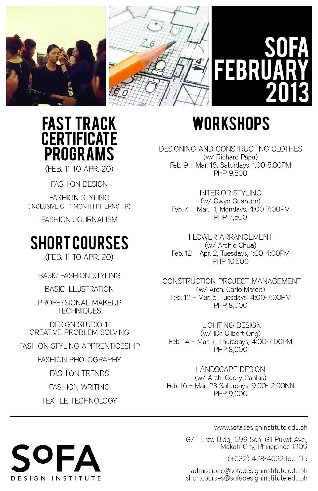 manila fashion observer: SoFA Workshops, Short Courses & Certificate ...