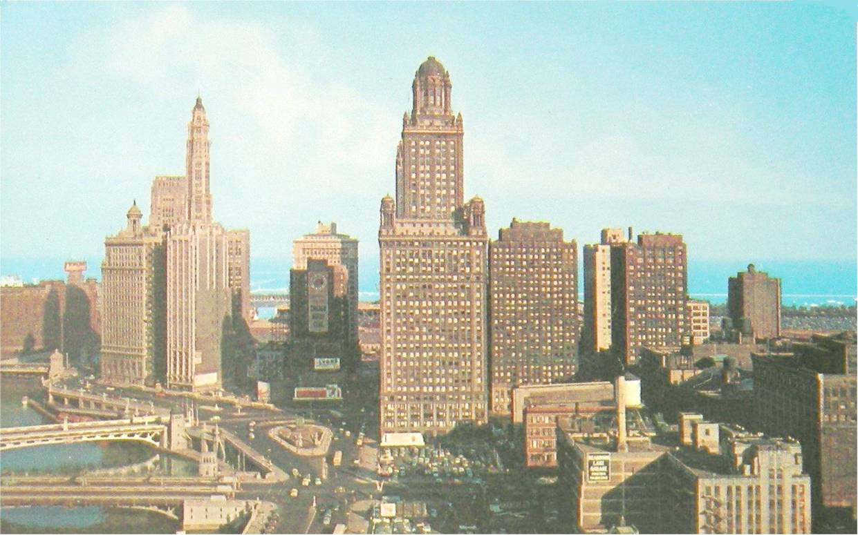 Postcard chicago wacker drive aerial looking e 1960s