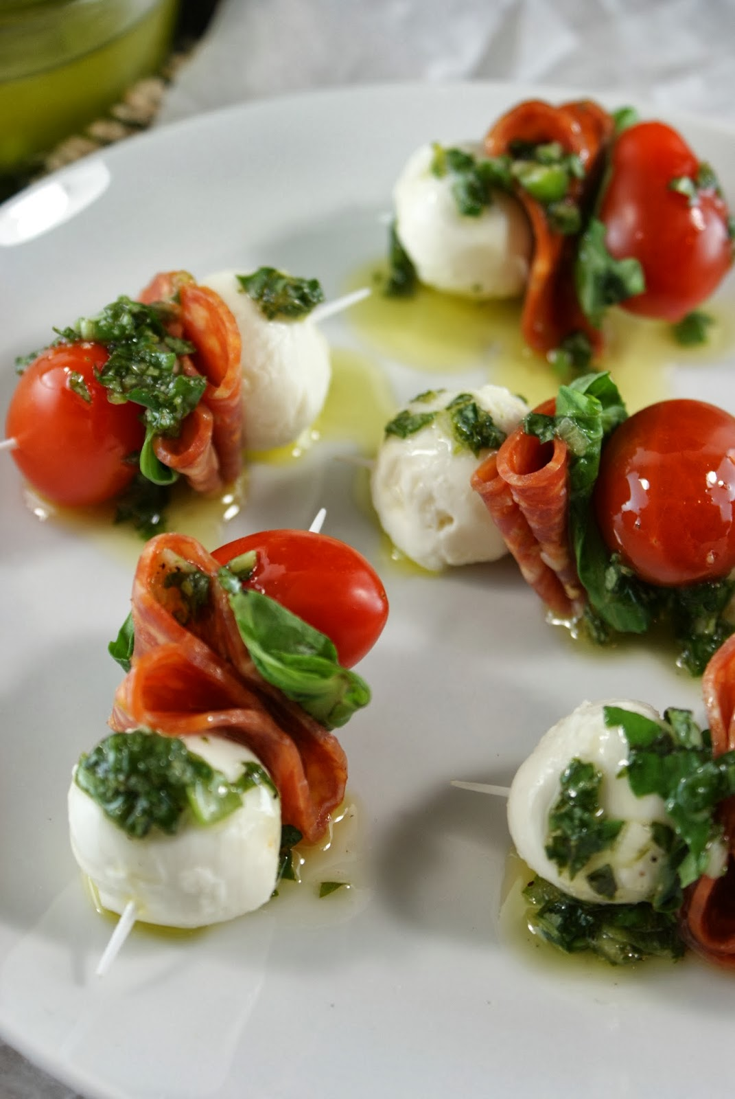 Authentic suburban gourmet pepperoni caprese bites with for Gourmet canape ideas