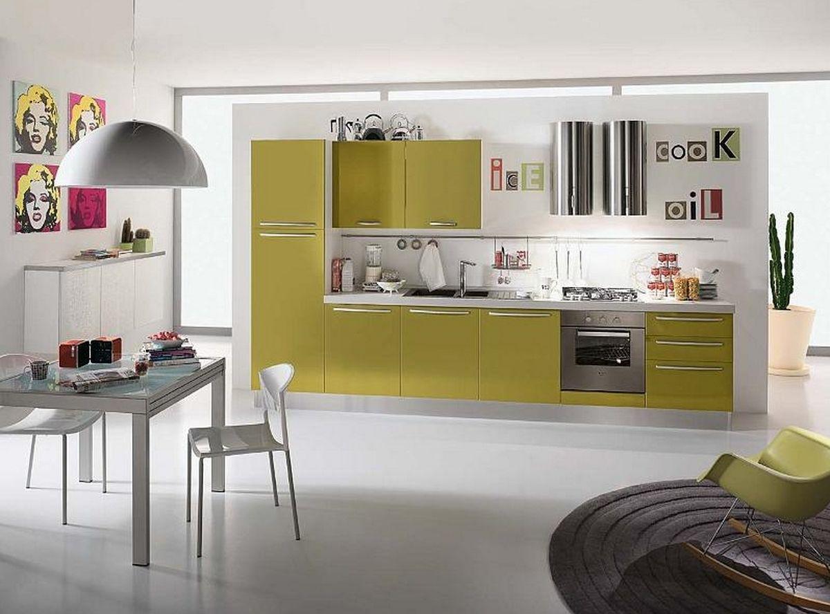 Decoração de cozinha com armario amarelo