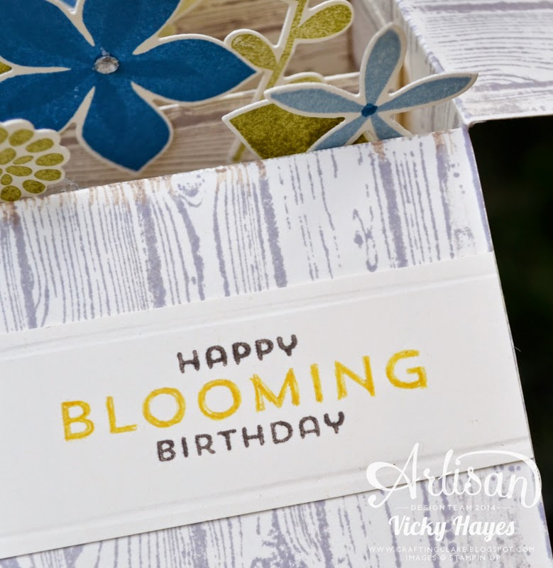 Vicky Hayes demonstrates a pop up card in a box using Flower Patch and Hardwood by Stampin' Up