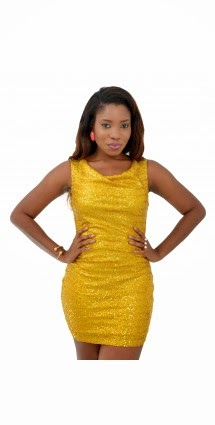yellow sequined gown