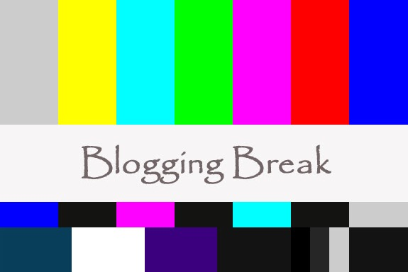 Blogging Break printed over old-style color band TV test pattern