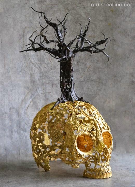 Alain Bellino esculturas caveiras crânios dourados steampunk góticas detalhadas