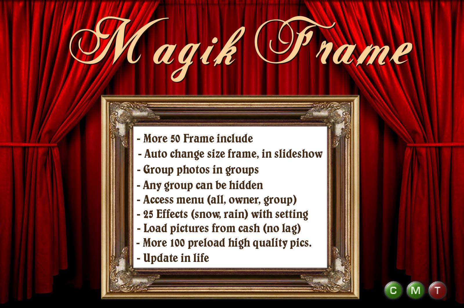 magic frame is the unique product created for easy show your photos and pictures in second life