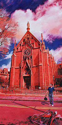 The Loretto Chapel by Tom Mallon, Oil on Canvas - 24 x 48 inches
