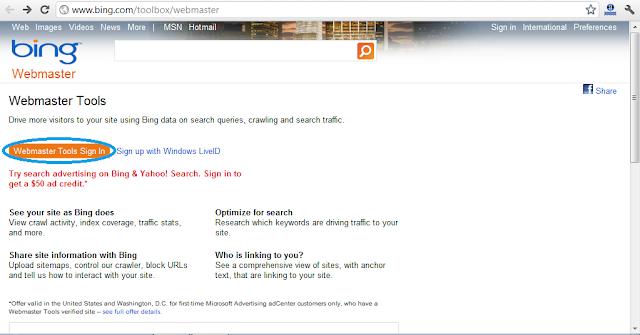Situs Resmi Bing Webmaster Tools
