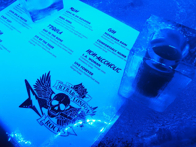 london ice bar drinks menu