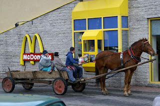 funny-pictures: with horse carriage at mc donalds