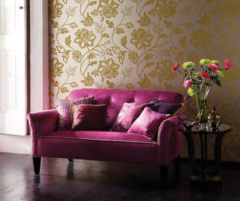 Home quotes theme design purple and gold color combination for Purple living room wallpaper