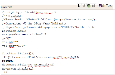 Contoh memasukkan kode judul berjalan di Gadget