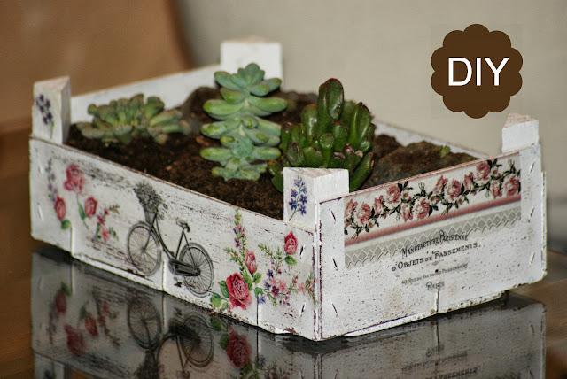 Reciclaje caja de fruta diy jard n de crasas manualidades - Como decorar cajas de fruta ...