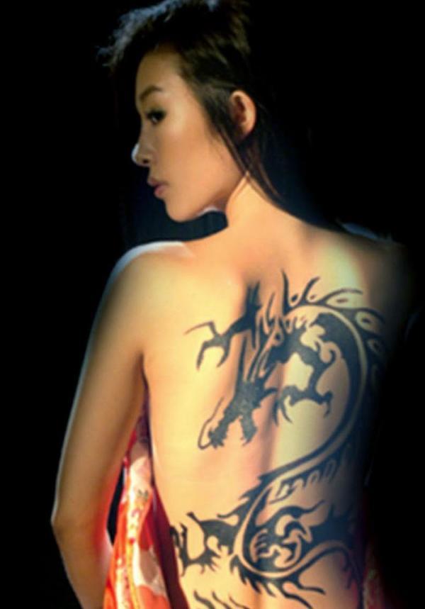 Japanese Dragon Tattoo in Upper Back For Girls