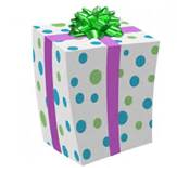 birthday gift box with a green bow