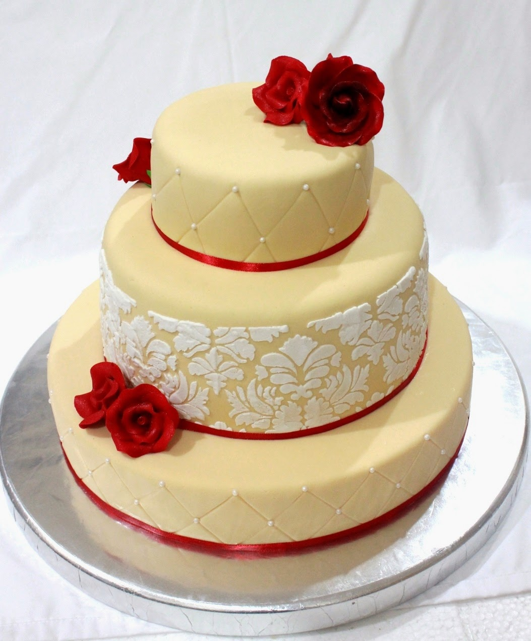 Dessert Inc: Damask Peach Wedding Cake with Red Roses
