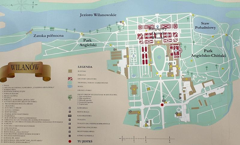 Wilanów plan, mapa okolic pałacu