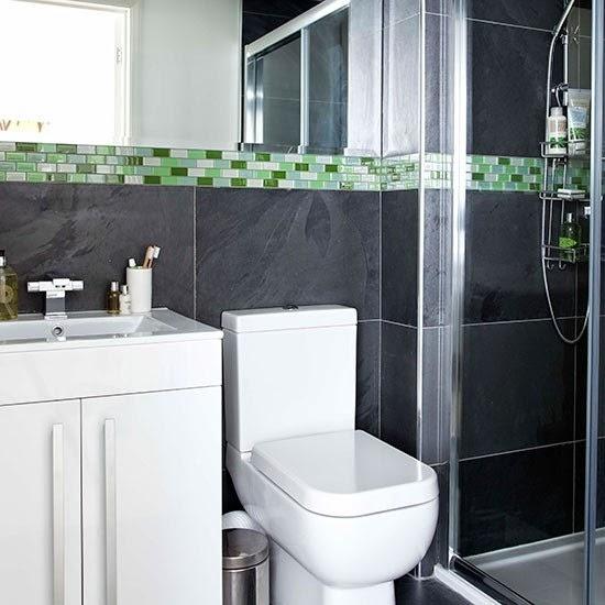 Ba os modernos en color gris - Papel para azulejos de bano ...