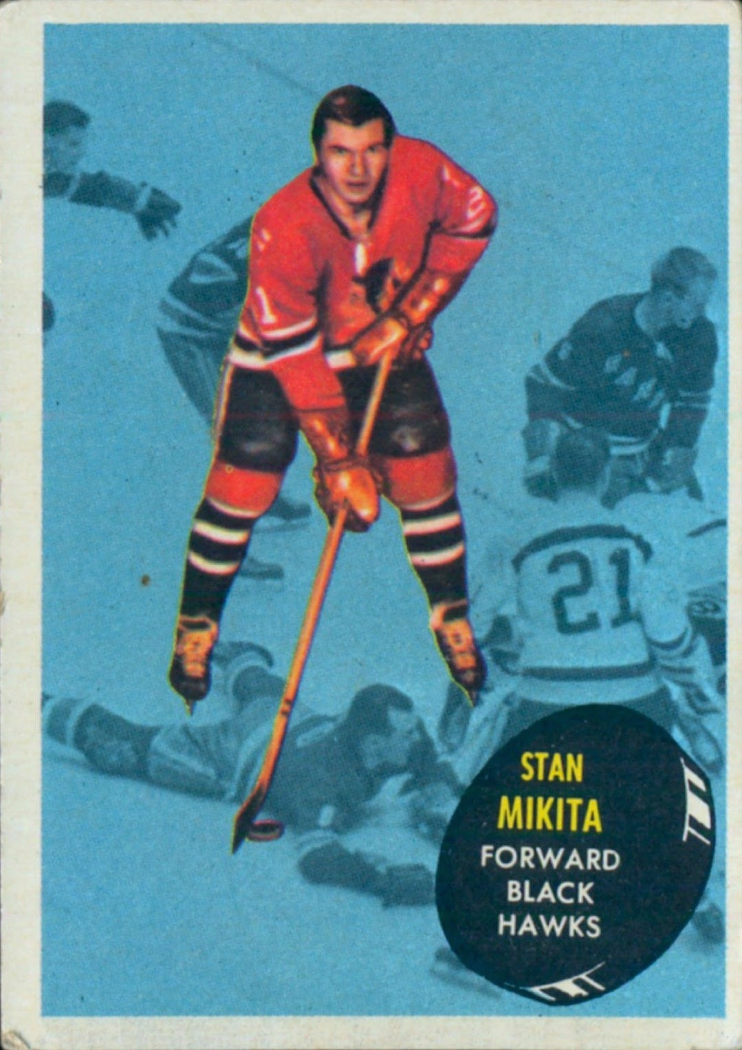stan mikita chicago blackhawks topps hockey card