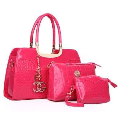 AA FASHION BAG ( 3 IN 1 SET) (ROSE RED)
