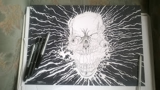 drawing an exploding skull design