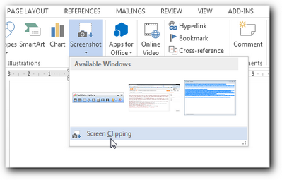 Screen Clipping Ms Word 2013