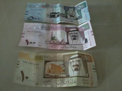 500, 100 dan 10 Riyals