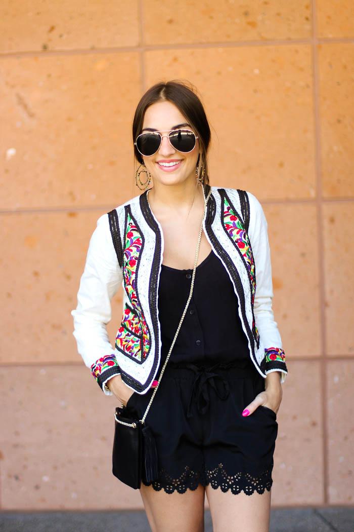 asos embellished jacket crossbody shorts