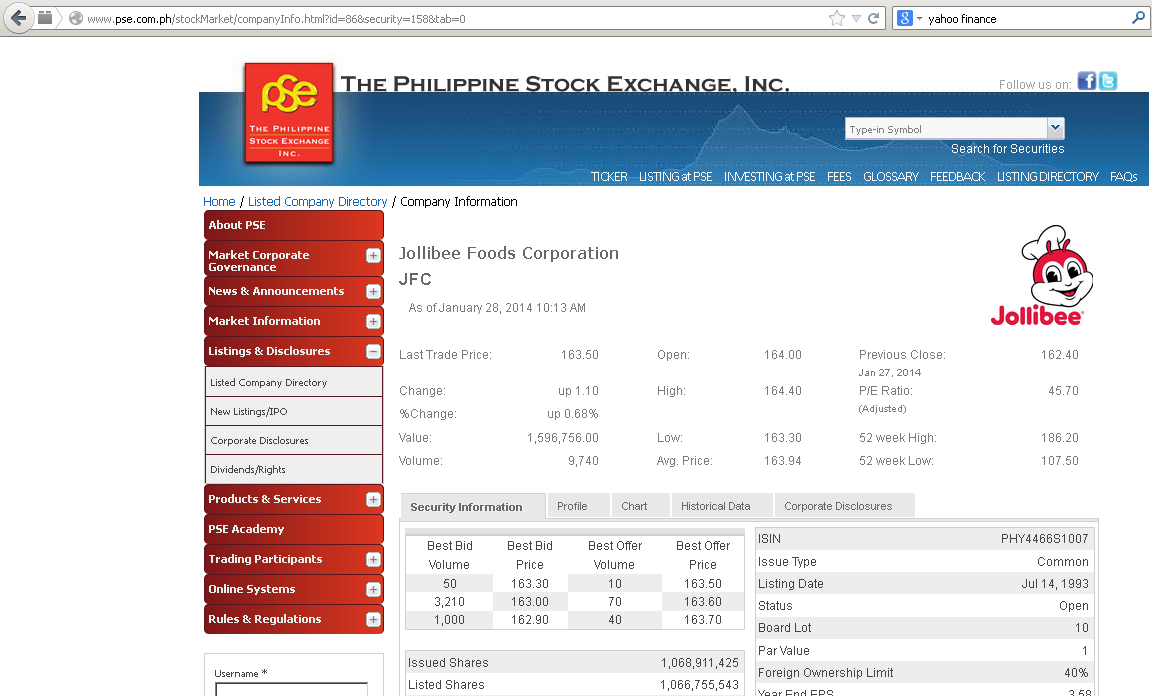 Acquiring Philippines Stock Exchange Data Content On A Need To