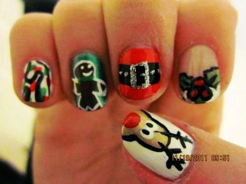cute christmas lights nail art, christmas lights nail art for short nails