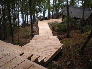 cedar stairway from the cabin to the sauna by the lake, http://huismanconcepts.com/