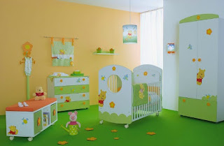 cute baby nursery room with winnie the pooh furniture decor ideas