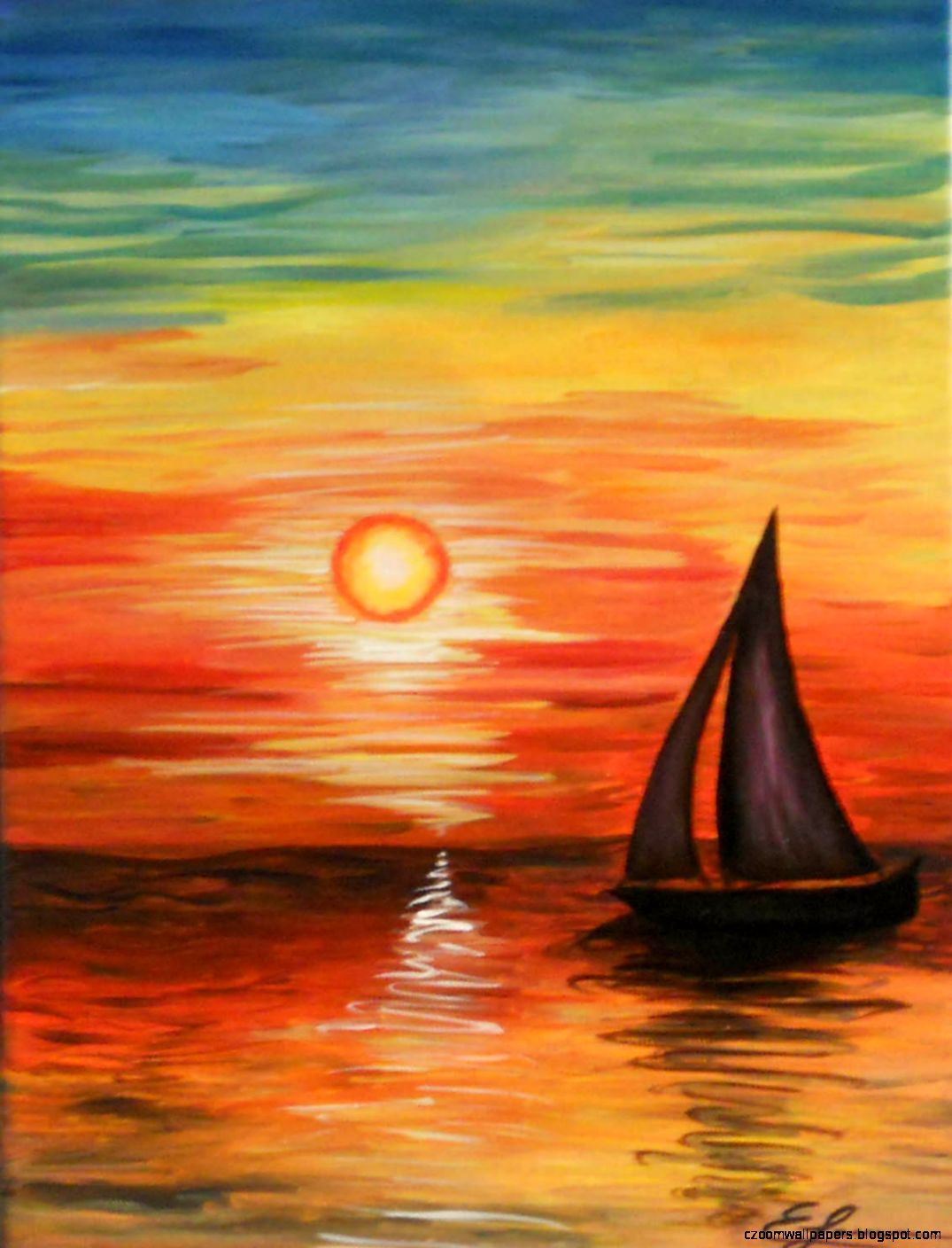 Images Of Sunset Paintings Zoom Wallpapers
