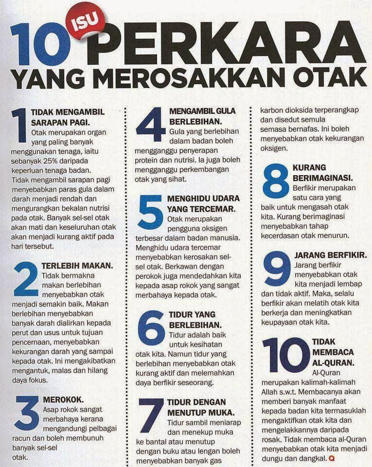 10 Perkara Merosakkan Otak