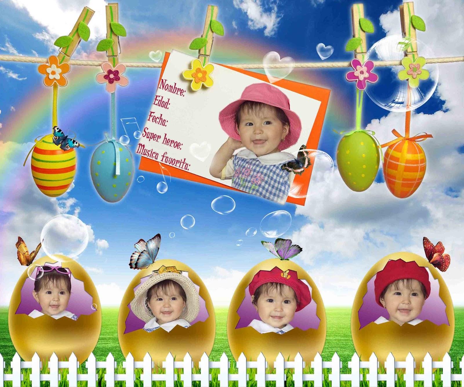 Caritas de niña en Pascuas - Plantillas para Photoshop 2014