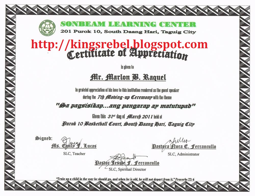 Tidbits and bytes example of certificate of appreciation on the tidbits and bytes example of certificate of appreciation on the 7th moving up ceremony of sonbeam learning center yadclub Image collections