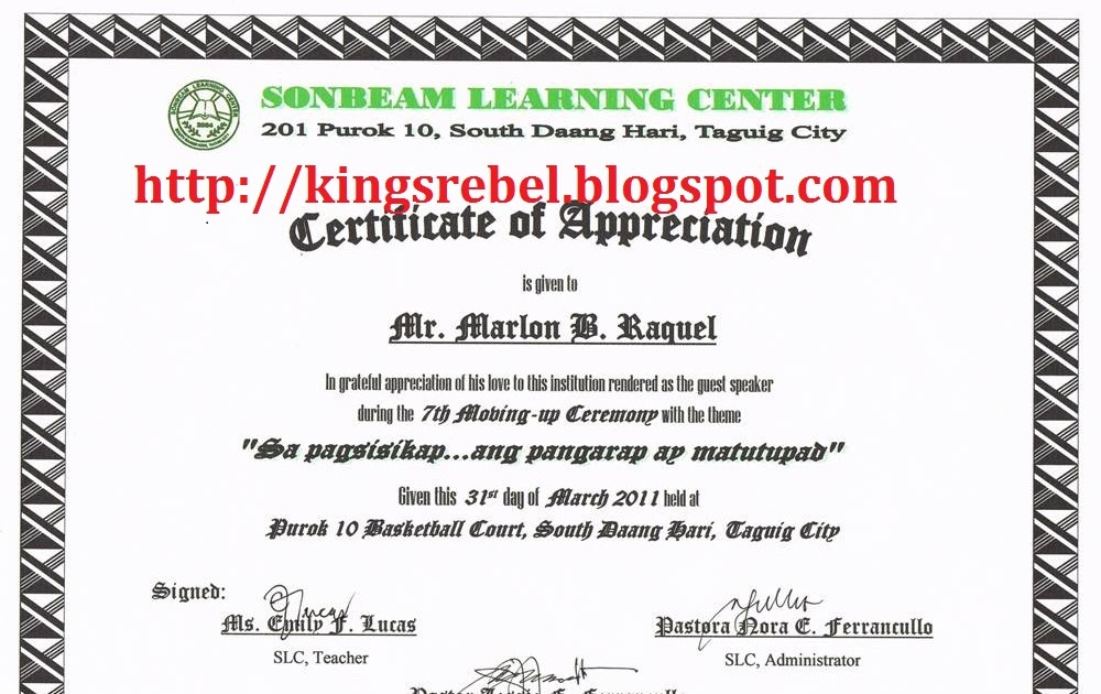 Sample certificate of appreciation certificate format samples certificate of recognition for guest speakers sample image gallery yelopaper Images