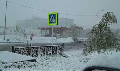 Matahari terik kepada ribut salji berlaku dalam sehari di Siberia