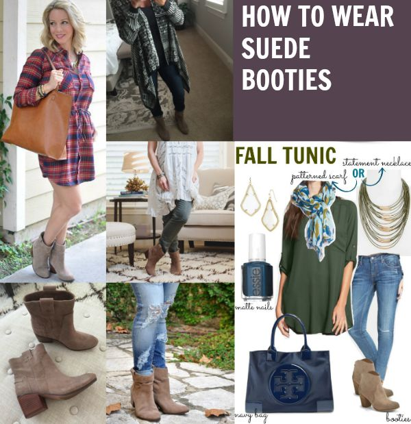 How to wear suede casual booties- lots of outfit ideas
