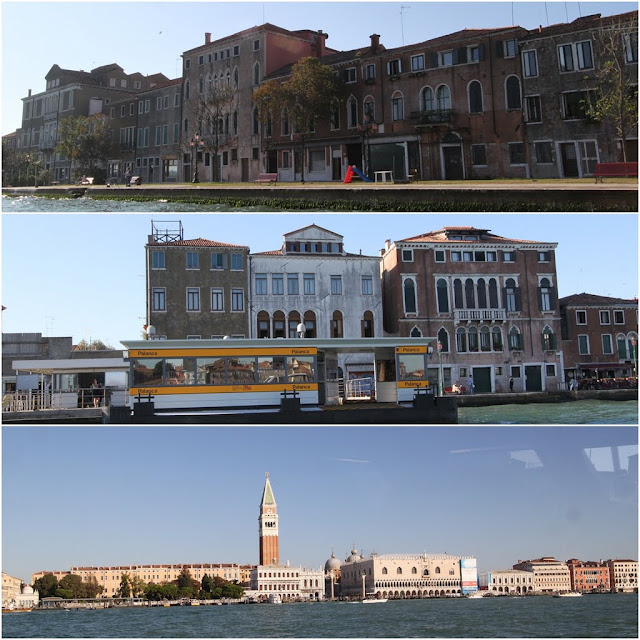 Run down buildings and St Mark Square can be seen while riding on water buses or water taxis in Venice, Italy
