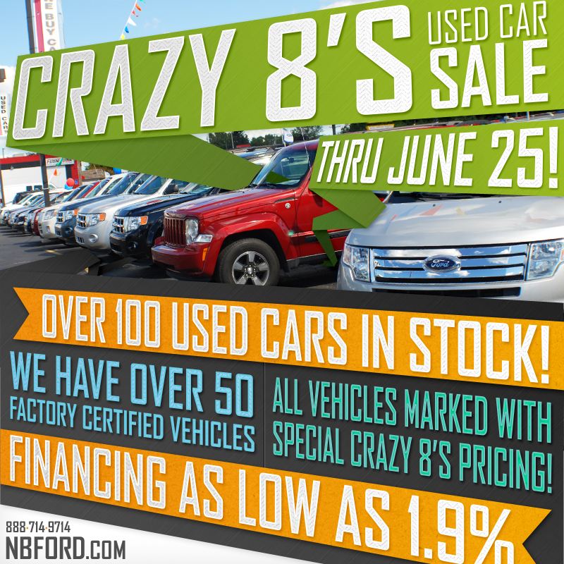 North Brothers Crazy 8's Used Car Sale Extended Thru June 25th