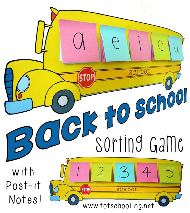 School Bus Sorting Game - Free Printable