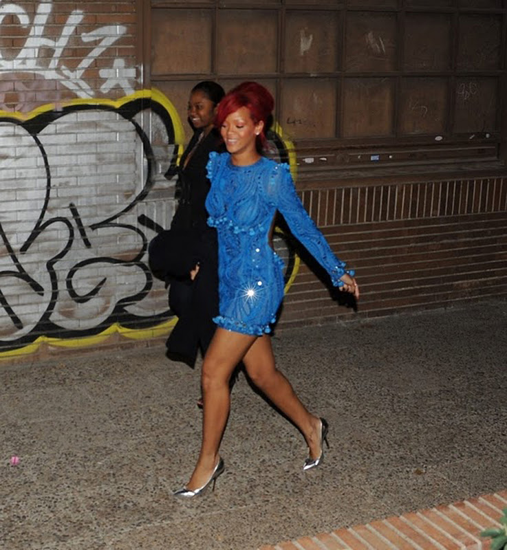 Rihanna in Emilio Pucci blue dress Who wore it better: Adriana Lima, Rihanna or Kylie Minogue in Emilio Pucci