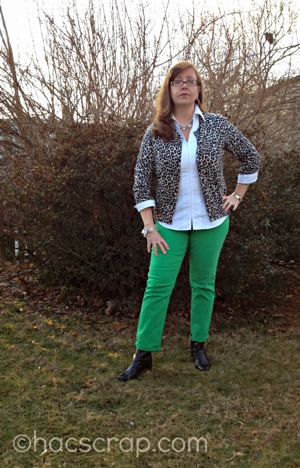 Green Jeans, White Shirt, Leopard Cardi