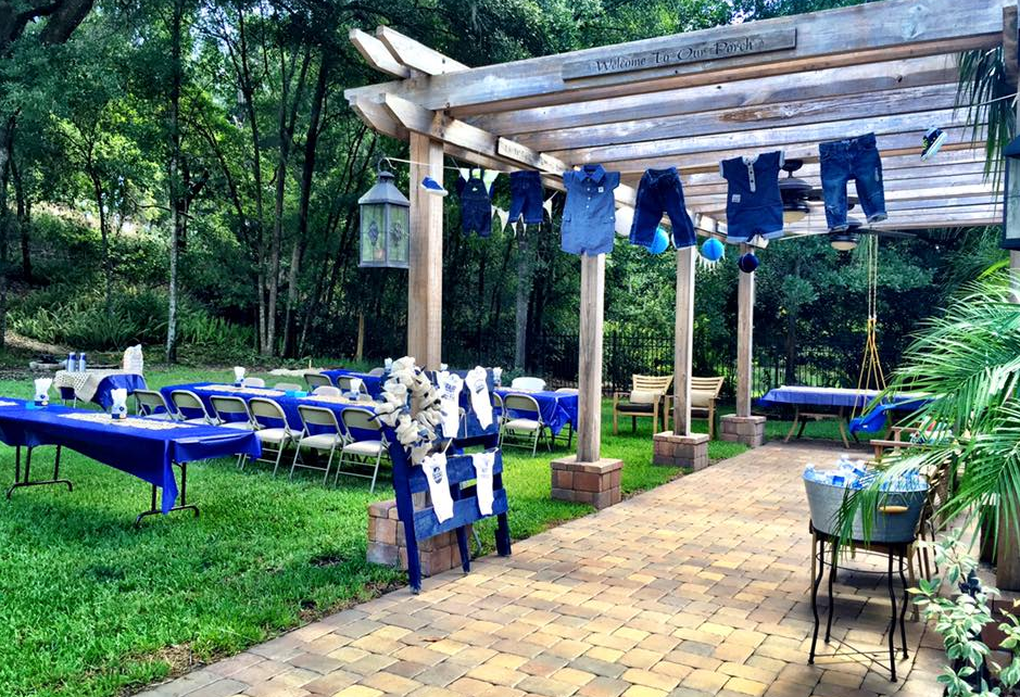 We Used Various Shades Of Blue, Denim, And Burlap For The Decorations.