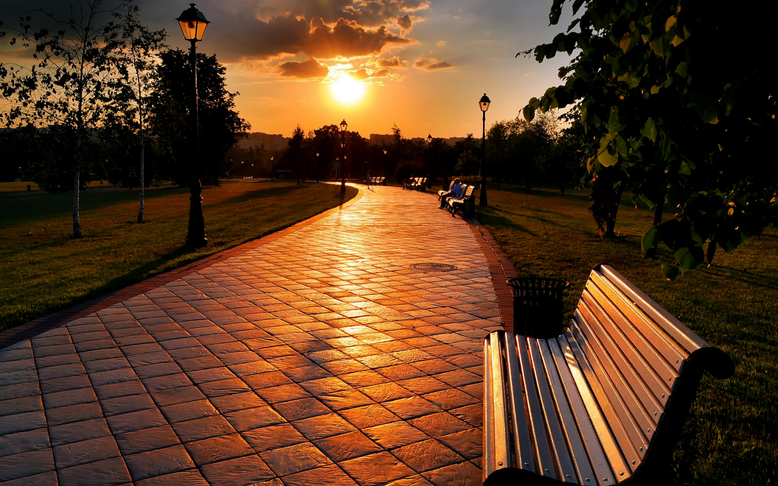 Central Wallpaper Empty Benches Hd Wallpapers